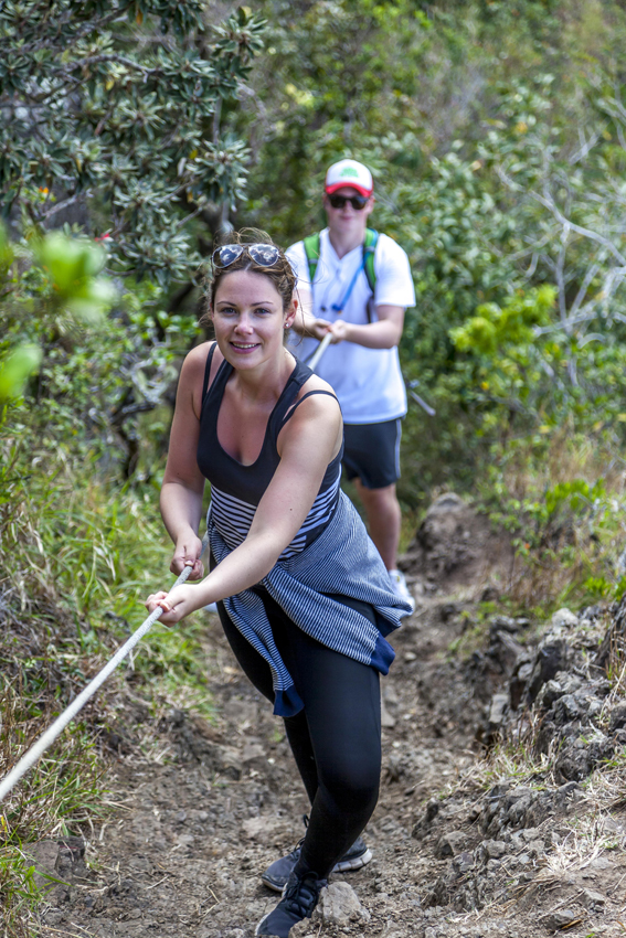 rope will help you to climb Le Morne Mountain
