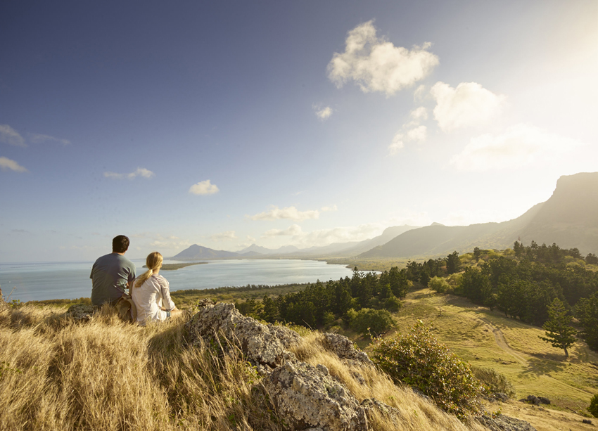 admiring Bénitiers Island from Le Morne Mountain