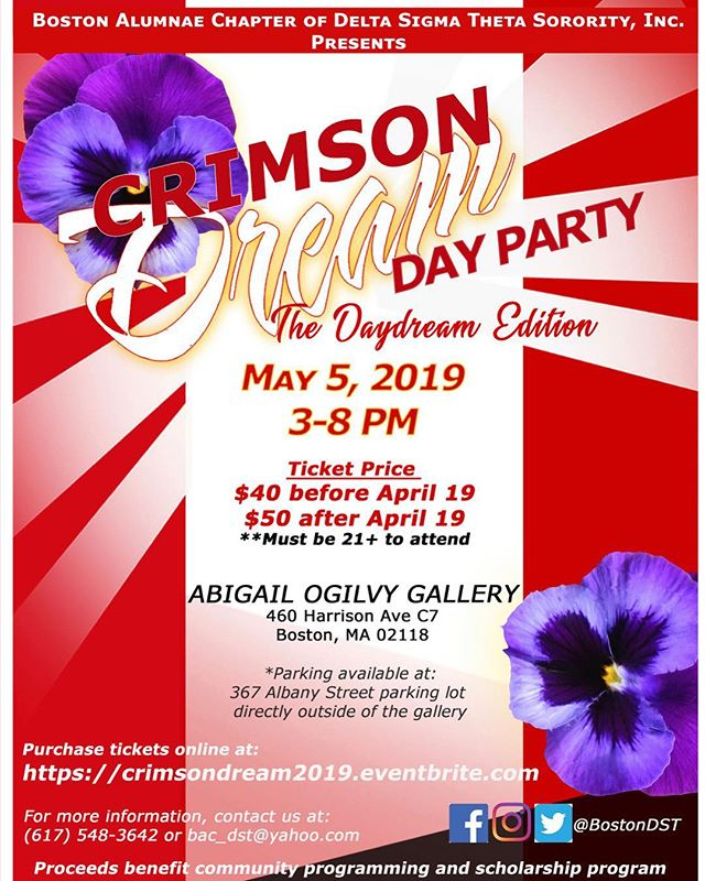 Hey #Boston! Come out and support The alumnae chapter of #deltasigmathetasororityinc at CRIMSON DREAM 2019 Day Party!  https://www.eventbrite.com/e/crimson-dream-the-daydream-edition-a-day-party-tickets-44352379160?aff=ebdshpsearchautocomplete
