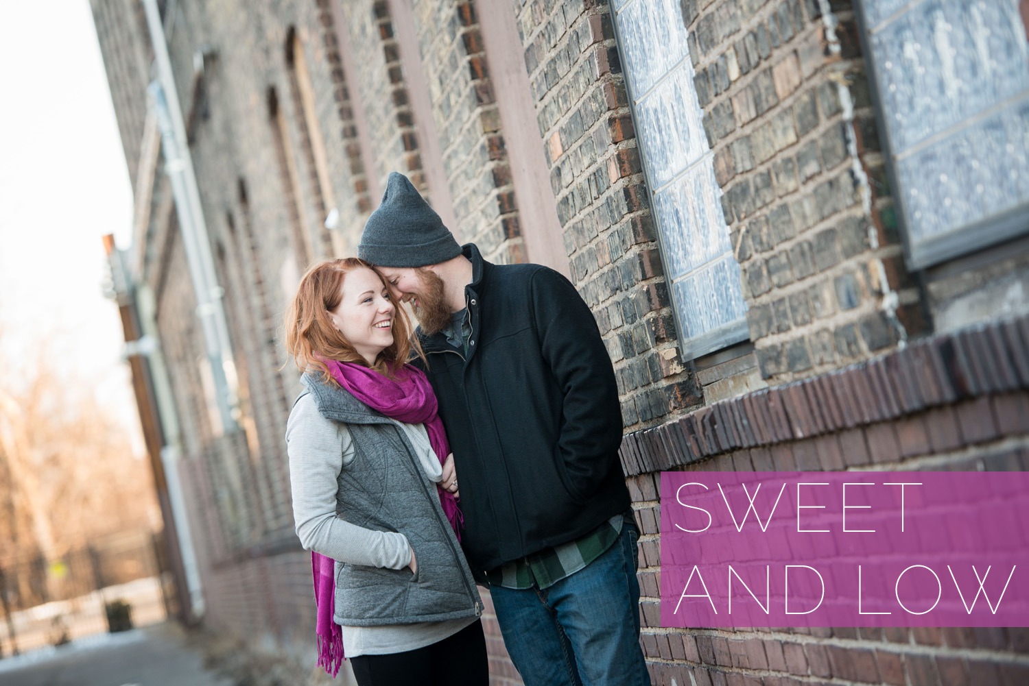 Nicole and Patrick get close for their engagement photo session at Indeed Brewing in Northeast Minneapolis
