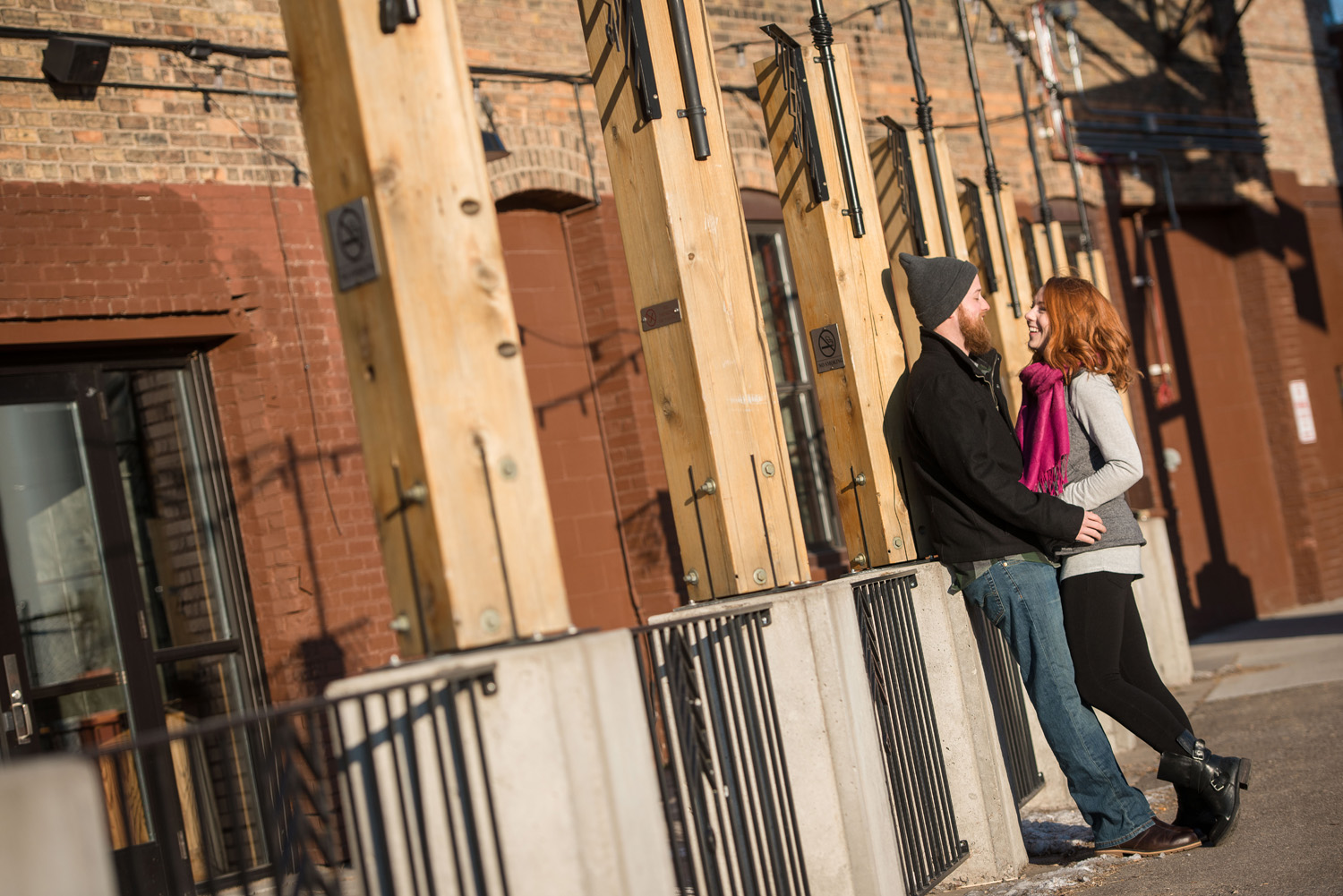 early morning sun made for a warming affect despite freezing temps for Nicole's and Patrick's Minneapolis engagement photo session