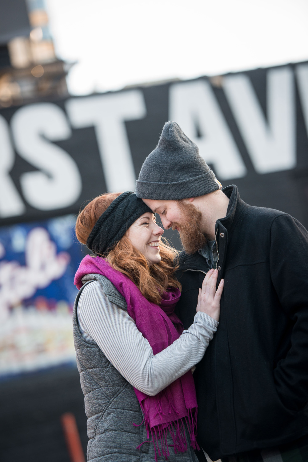 Nicole and Patrick giggling outside First Avenue