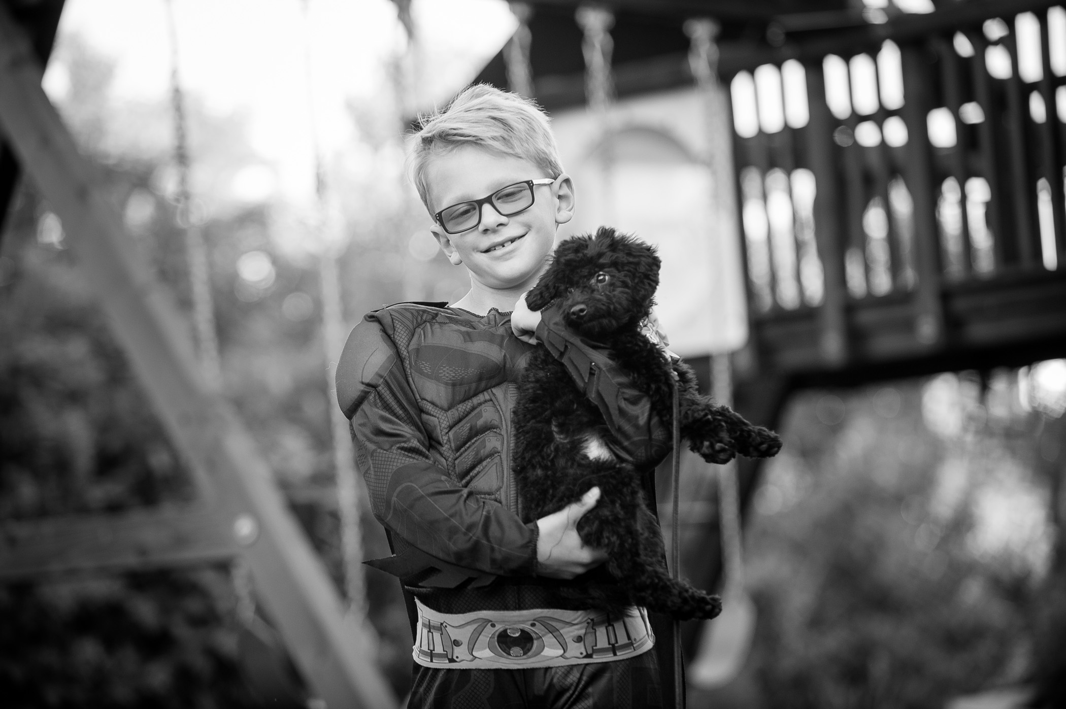 Cooper gets some puppy love during his at-home photography session