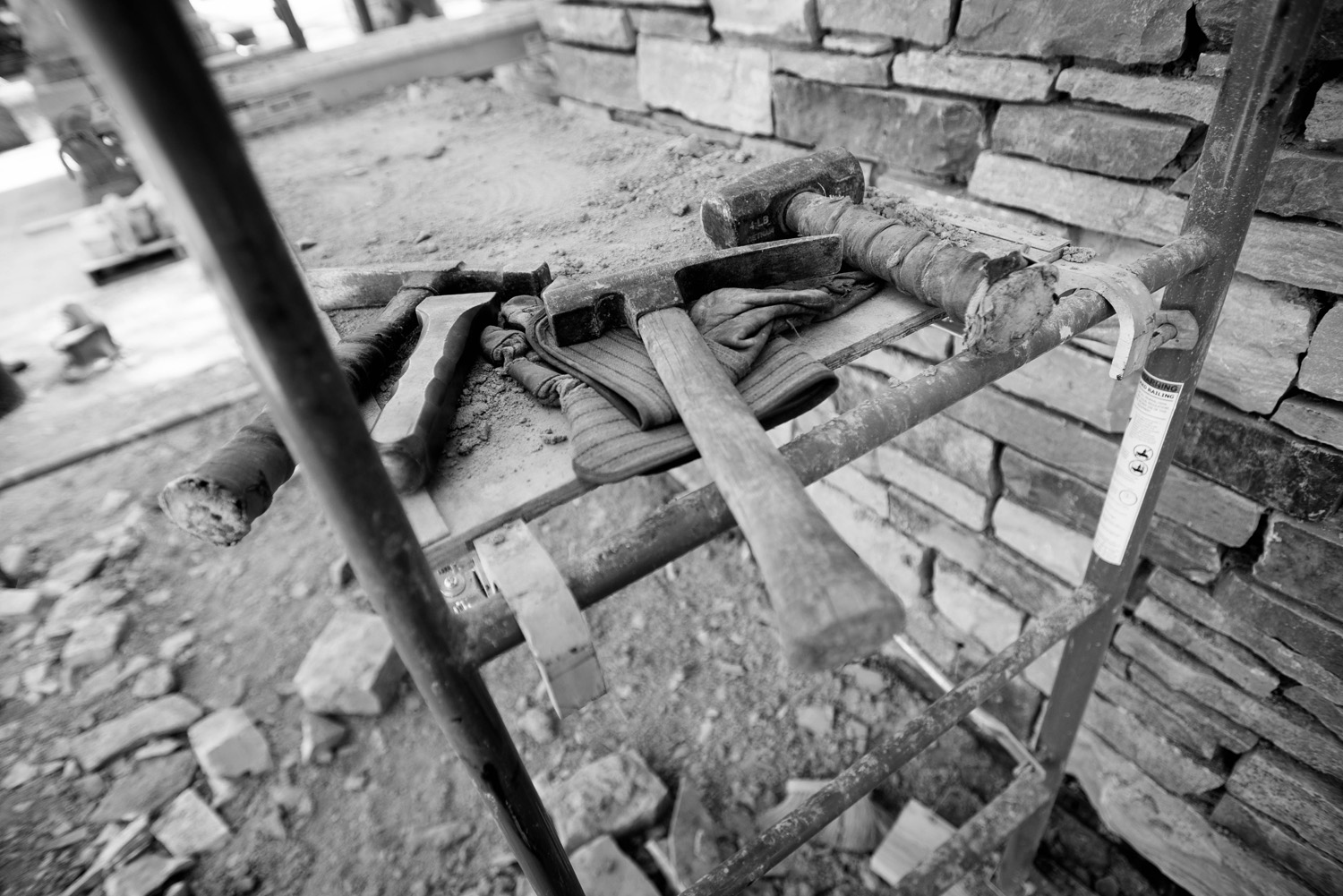 Stone mason tools on display at The Gardens of Castle Rock. Photography by Southern Minnesota trades and editorial photographer Anthologie.