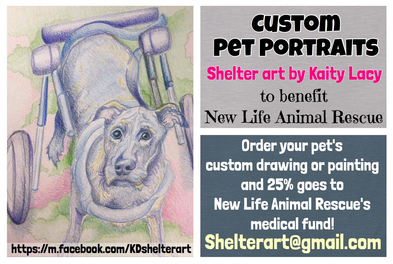 This amazing drawing of our sweet boy Francis was done by our friend Kaity of  Shelter Art by Kaity Lacy   And GUESS WHAT!!!!! Now YOU have an awesome opportunity to HELP US by ordering your own custom pet drawing or painting!!  Kaity has generously offered to donate 25% of her artwork ordered if you mention New Life Animal Rescue!!  You can see she does great work - now you can have a beautiful piece of art featuring your fur baby AND benefit the New Life Animal Rescue rescued dogs & cats! Contact her at Shelterart@gmail.com And visit her FB page at  https://m.facebook.com/KDshelterart  THANK YOU KAITY! 💕