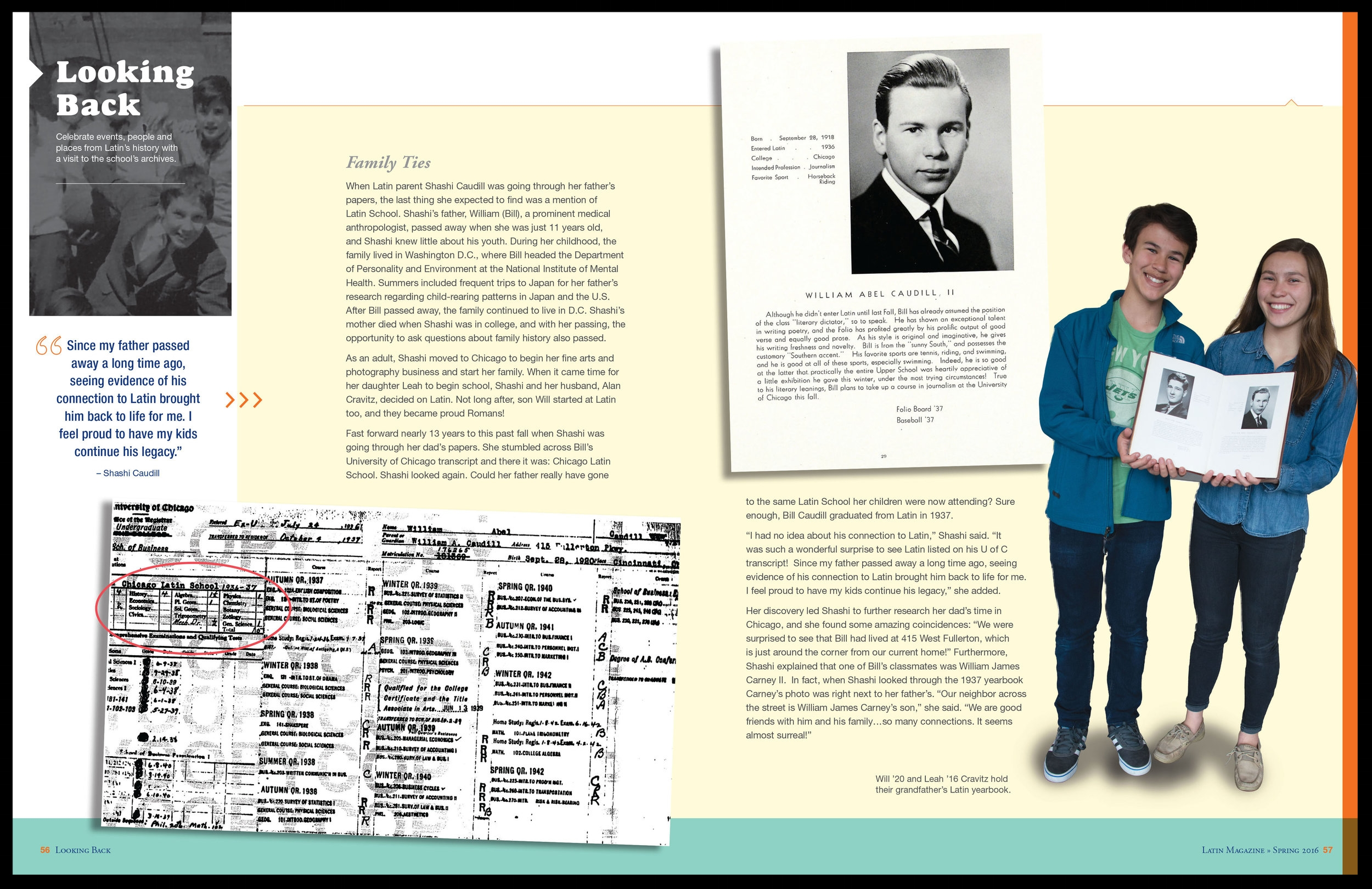 The last pages of the magazine uses archival materials to highlight Latin's connection with the past