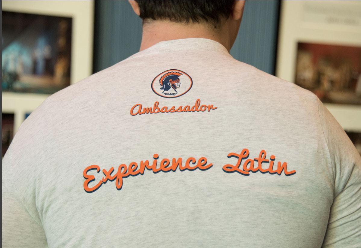 Student ambassadors wear branded t-shirts.