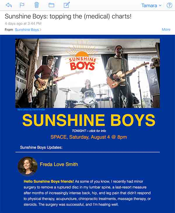 Custom email newsletter with reflections from each of the band members.