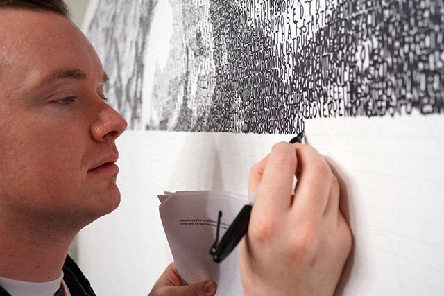 "Artist Phil Hansen ""embracing the shake."""