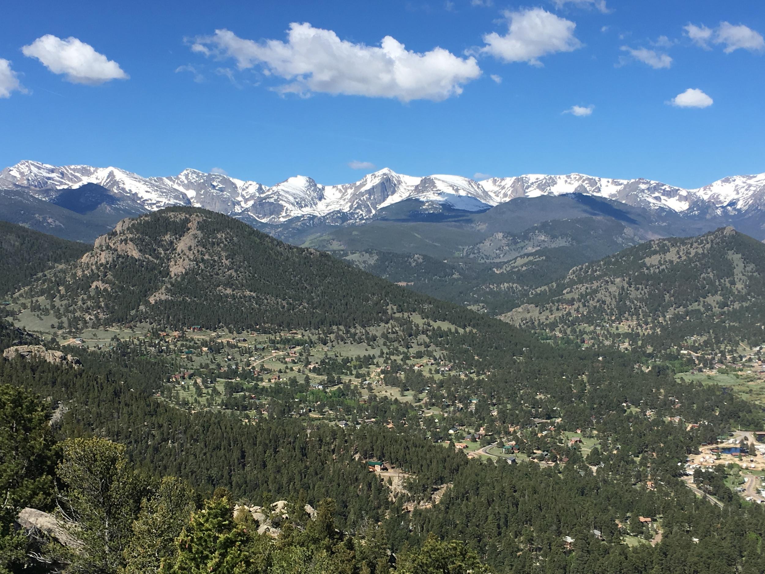 A view of Rocky Mountain National Park from Estes Park, Colorado.