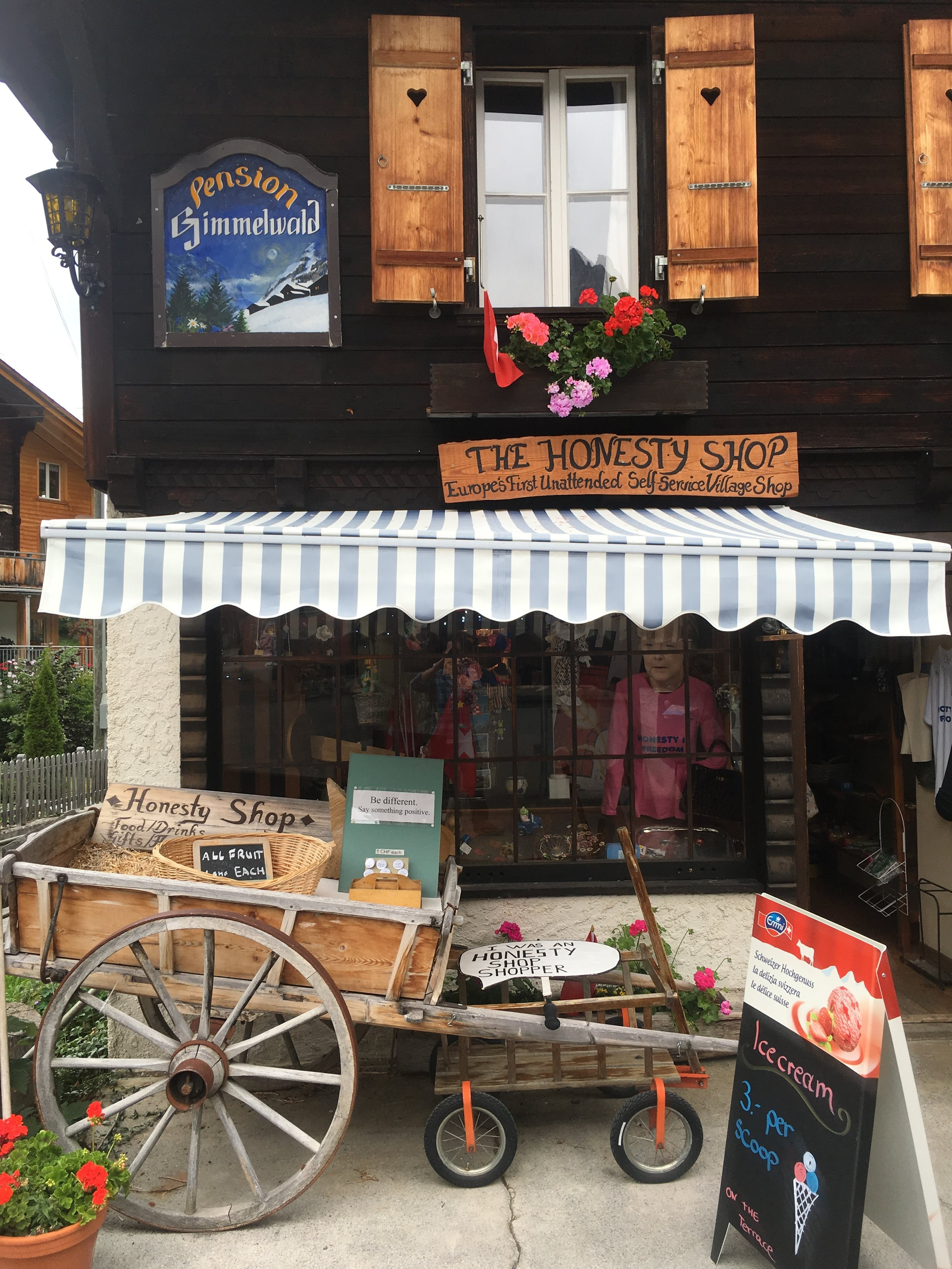 The Honesty Shop in Gimmelwald, Switzerland.