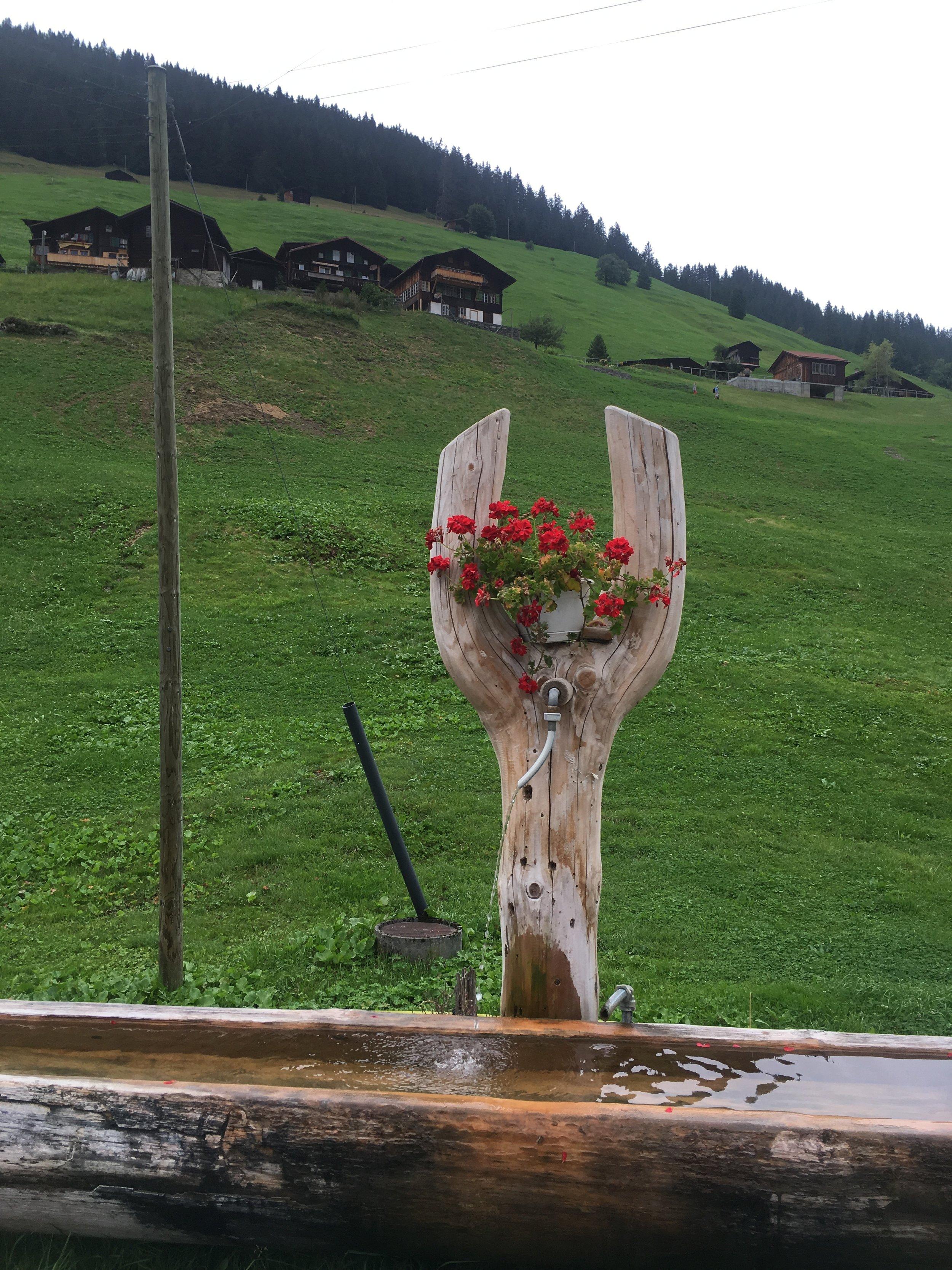 Fountain in Gimmelwald, Switzerland.