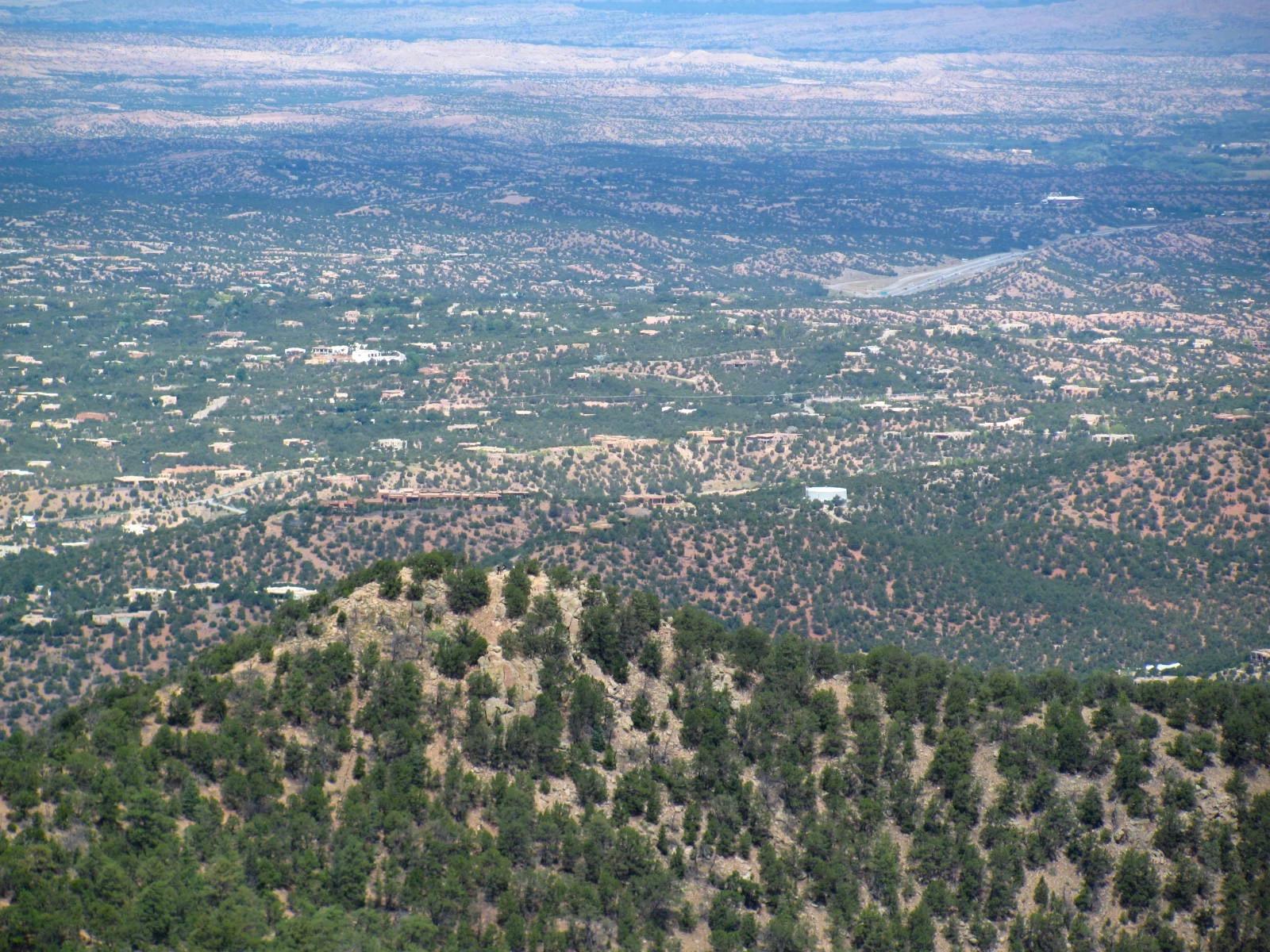 The view from Atalaya Mountain over Santa Fe, New Mexico.
