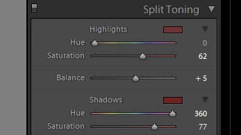 If you can't see that, my  highlights  values are 0 for  hue  and 62 for  saturation . My  shadows  values are 360 for  hue  and 77 for  saturation . My balance is set to  +5.