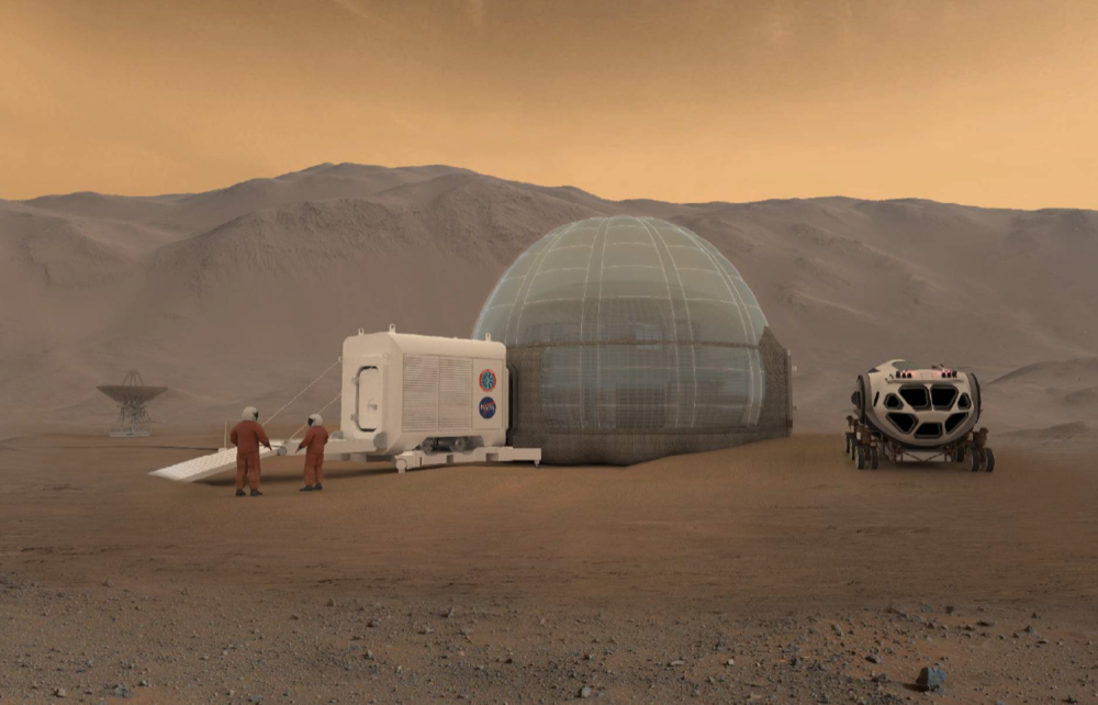 Mars Ice Home is a project collaboration with NASA Langley Research Center on a feasibility study for a Martian ice habitat. Mars Ice Home is a new concept for living in space, a house on mars, mars architecture, an a mars home made of ice.