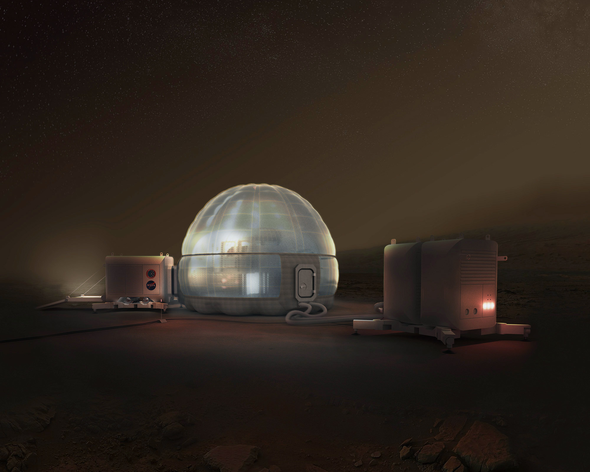 Night Rendering of Mars Ice Home