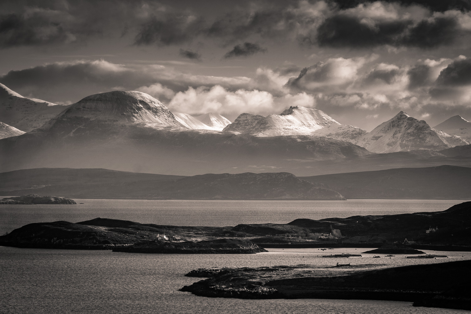 Across the Summer Isles with the dome of Sàil Bheag clearly in view.