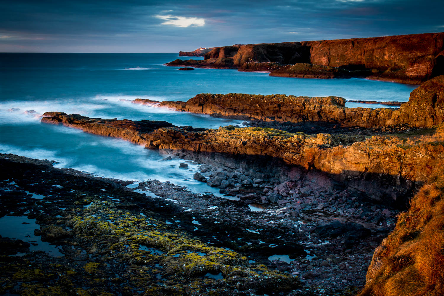 Crawton Coastline with the first sunlight warming the cliffs