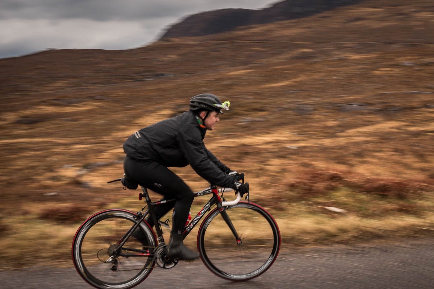 Craig on the lower sections of the Bealach climb.