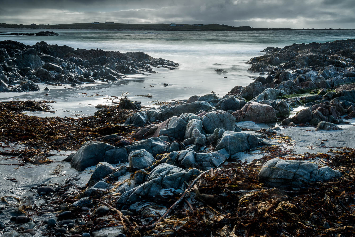 Tràigh Chornaig, The Green - taken among the rocks at the eastern end of the beach looking west.
