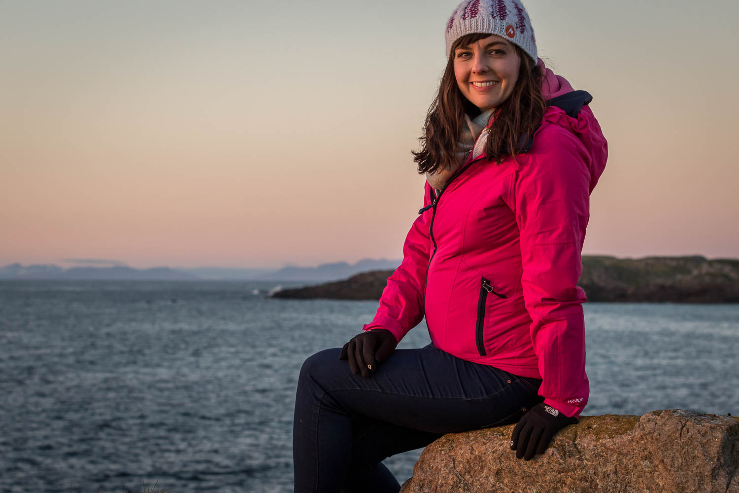 Anna watching the sunset, the islands of (R-L) Rùm, Canna and the peaks of Skye's Cuillins create the distant backdrop.