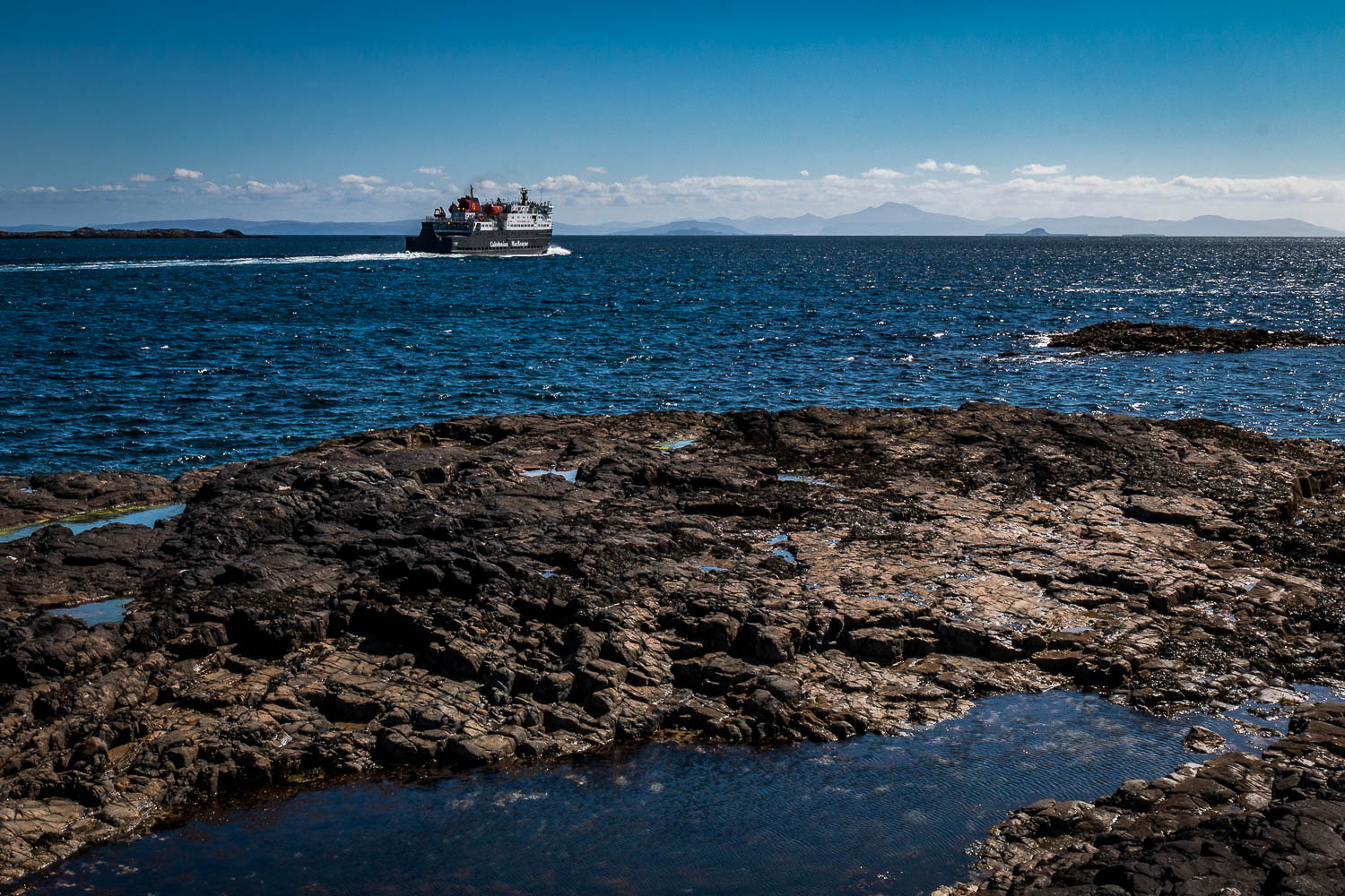 MV Clansman leaving Gott Bay with Ben More and the Dutchman's Cap on the horizon.