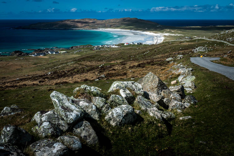 Balephuil Bay (Tràigh Bhi) and Ceann A' Mhara from the slopes of Ben Hynish.