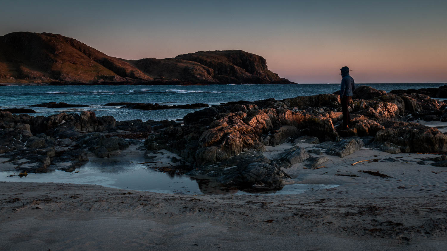 I asked Anna to take this - Watching the last of the light on Ceann A' Mhara.