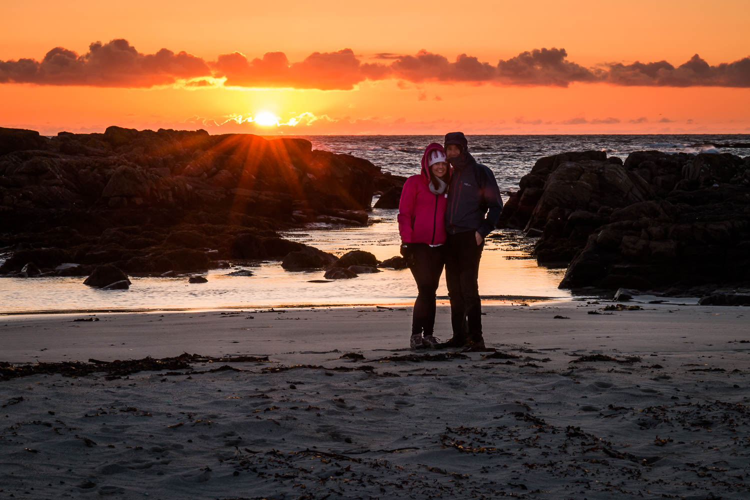 Our last sunset on Tiree for this holiday -camera on timer and a dash to stand with Anna! (And yes, it was cold and windy!!)