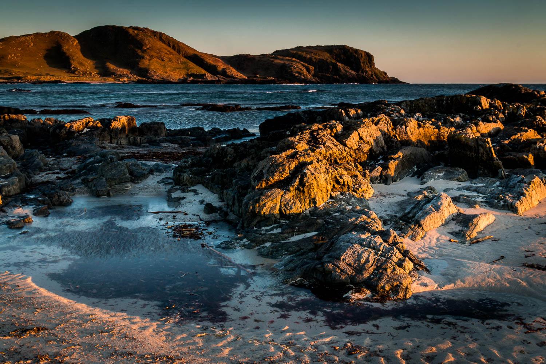 Sunset from the sands of Tràigh nan Gilean, looking at Ceann A' Mhara.