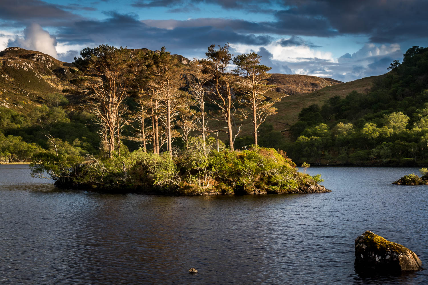 Loch Druim Suardalain in the afternoon sun.