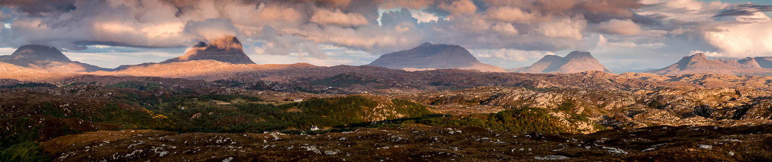 Sunset on the hills of Assynt (l-r) Canisp, Suilven, Cùl Mor, Cùl Beag and Stac Pollaidh.