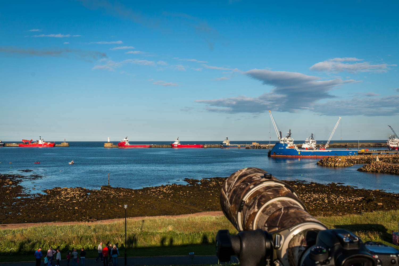 Our vantage point overlooking Peterhead Harbour.