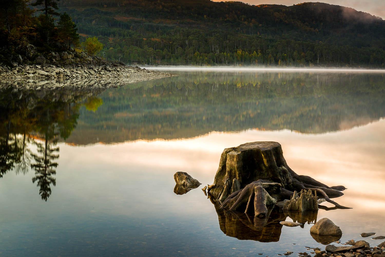 Reflections and mist - Loch Beinn A' Mheadhoin.
