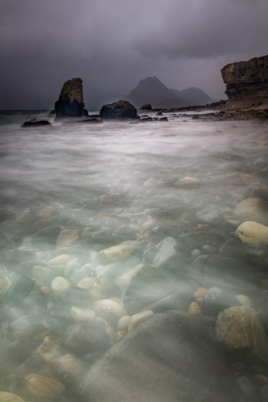 Elgol Beach, looking to the misty Black Cuillins - Gars-Bheinn & Sgùrr Dubh Beag.