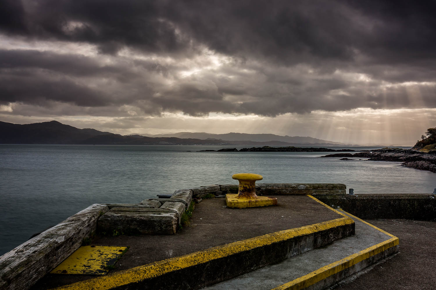 Crepuscular Rays over Mallaig, looking from Armadale Pier.