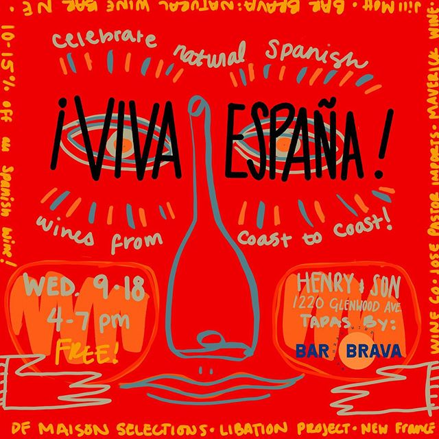 ¡Viva España!  Made a little sketch for the FREE Spanish Wine tasting at @shophenryandson  this Wednesday Sept. 18th from 4-7. There will also be tapas from the soon to be open natural wine bar @barbravamn . Olé! Oh yay! 🍷