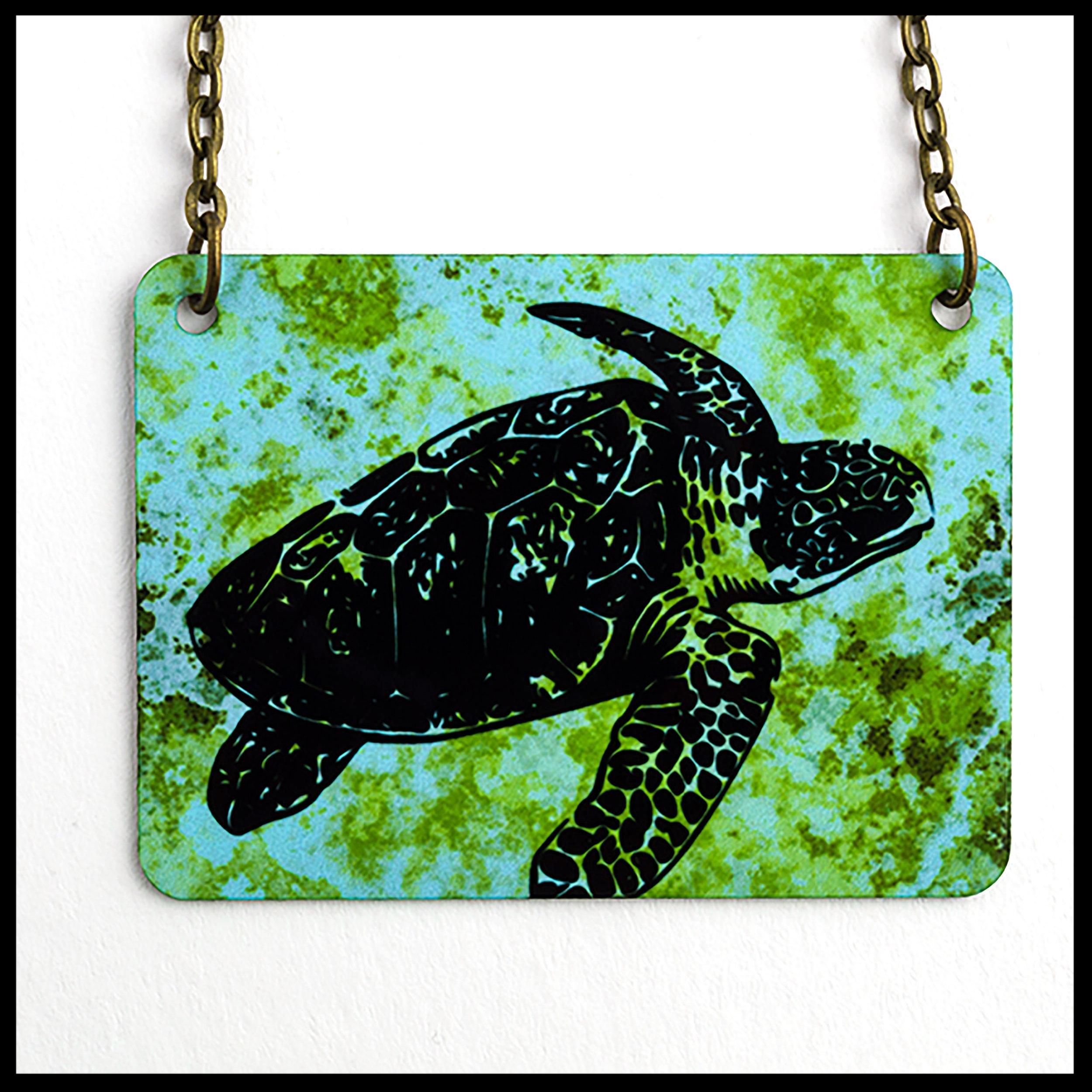 Sea Turtle Rectangle Necklace