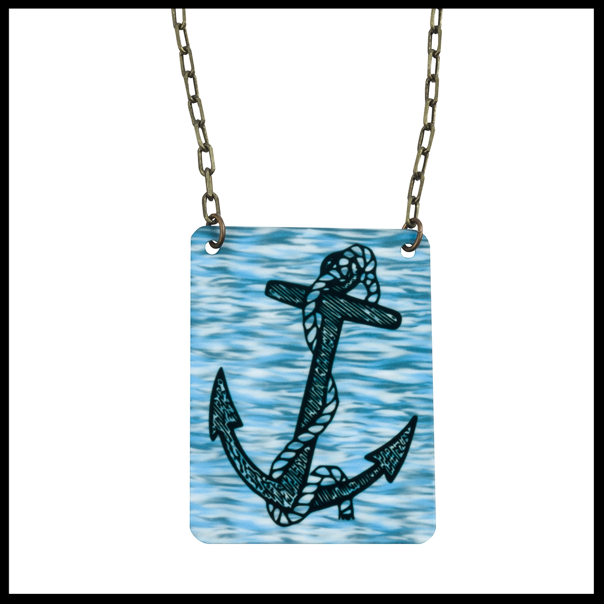 Anchor and Water Ripples Necklace