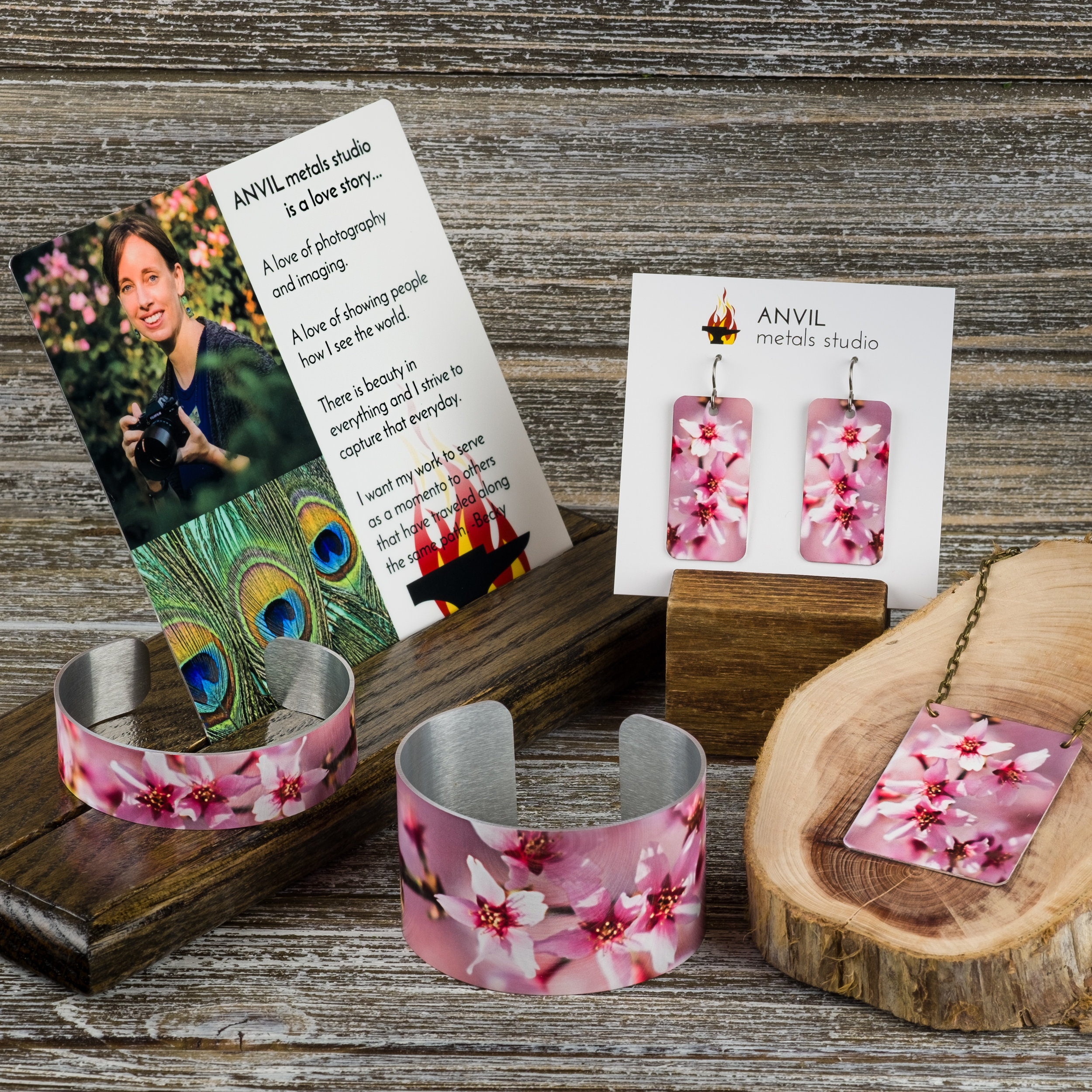 Cherry Tree Cuff Bracelets, Earrings, and Necklace