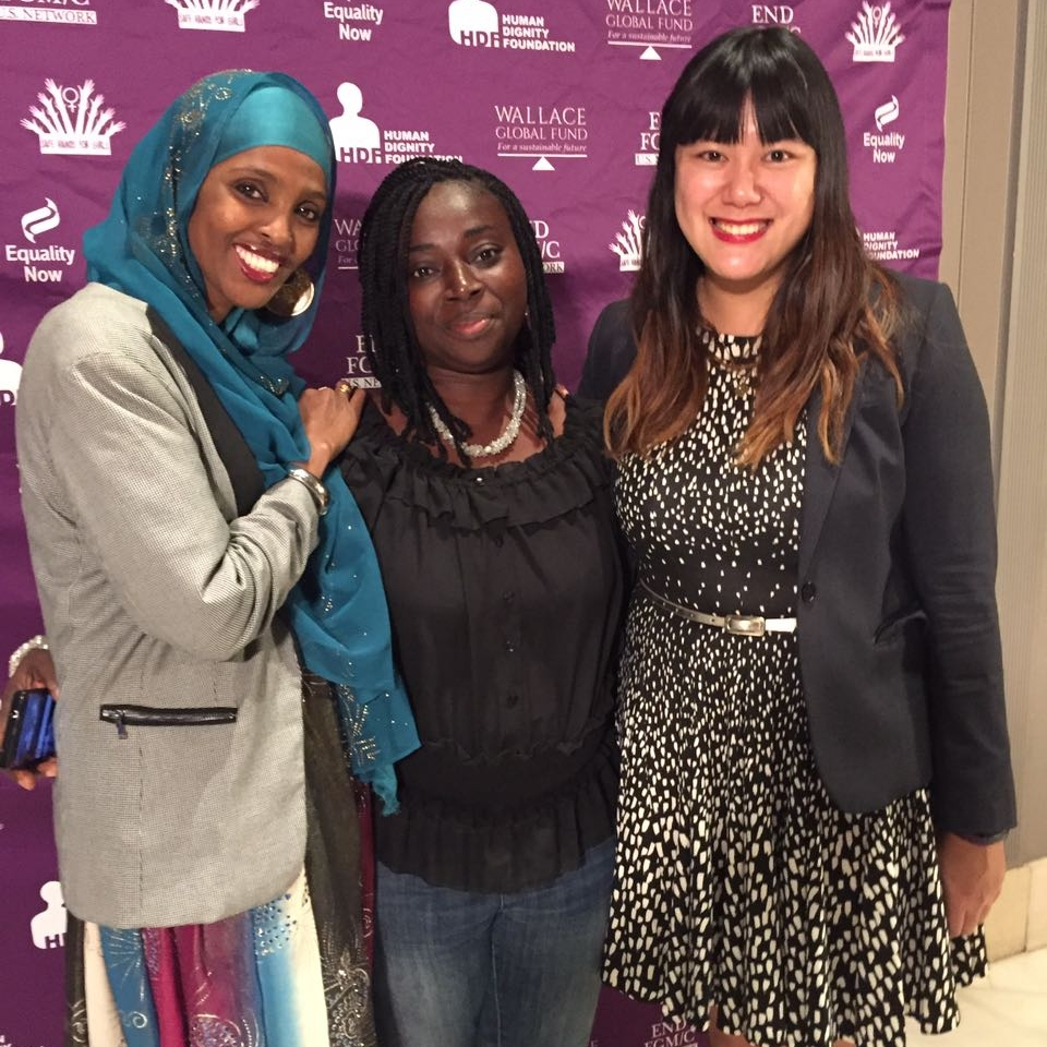 Fellow activist Ifrah Ahmed, Gift and Christina So (PR & Company), at the first US Summit on FGM, December 2016.