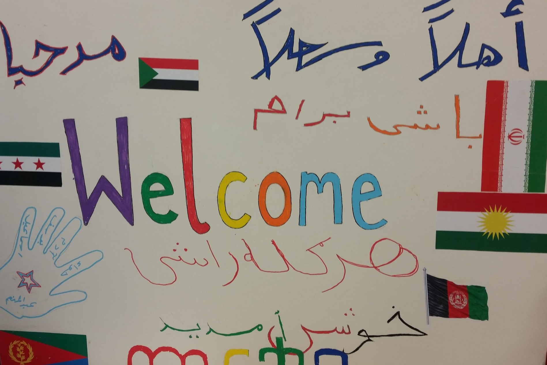 A 'Welcome' sign at the West Yorkshire Playhouse Studio where Isabel and Christy visited 'Hearts', a creative group for teenage refugees and asylum seekers.