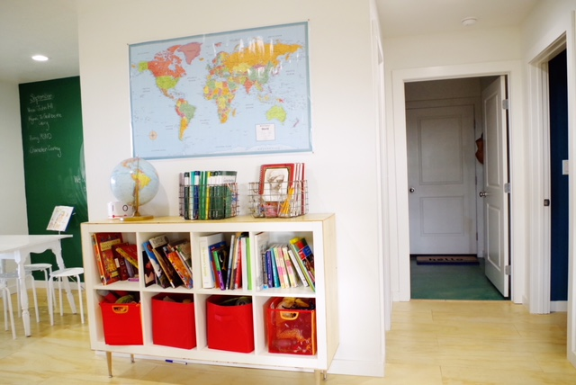 Our schoolroom and kitchen are our most finished rooms because they are the rooms we use the most.