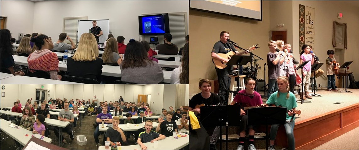 High School and Middle School meet together for teaching and worship twice a month on Sunday evening.