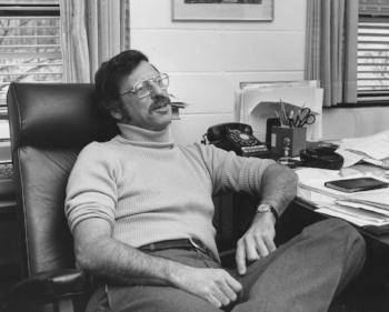 Professor Meltsner in his office, circa 1979. Photo courtesy of Northeastern University Libraries.