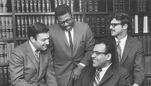Four LDF lawyers in 1964 (from left, clockwise) Jack Greenberg, Norman Amaker, Michael Meltsner, and James M. Nabritt III. (Courtesy NAACP Legal Defense and Education Fund, Inc.)