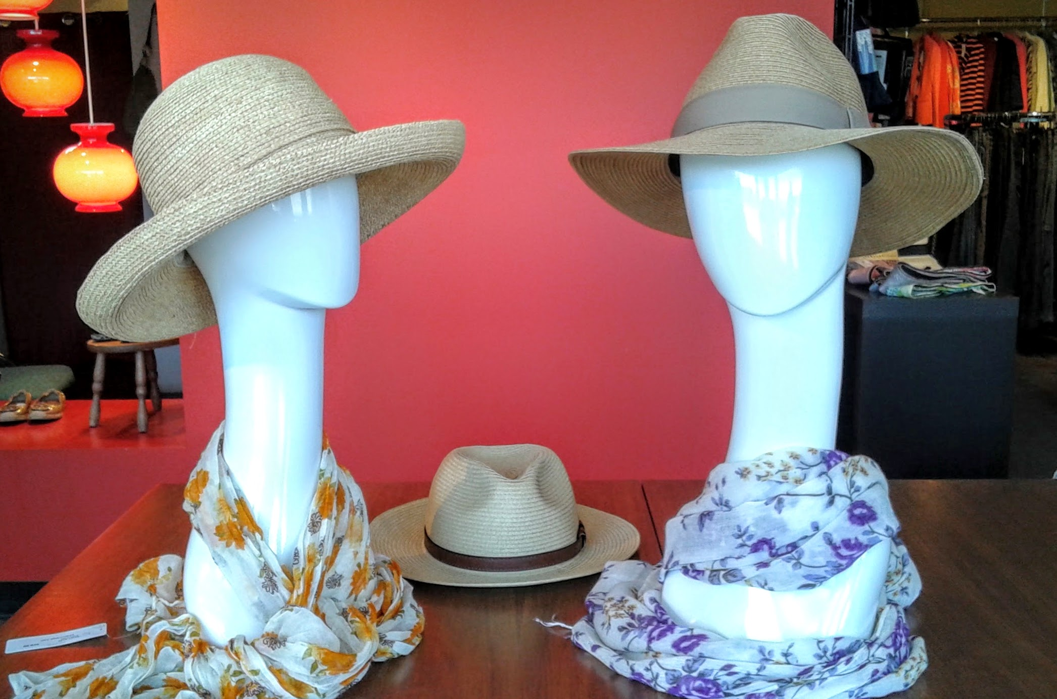 (From left to right, friends): Hat $20, scarf $10;  deLux  straw hat $45;  deLux  paper hat $32, scarf $10