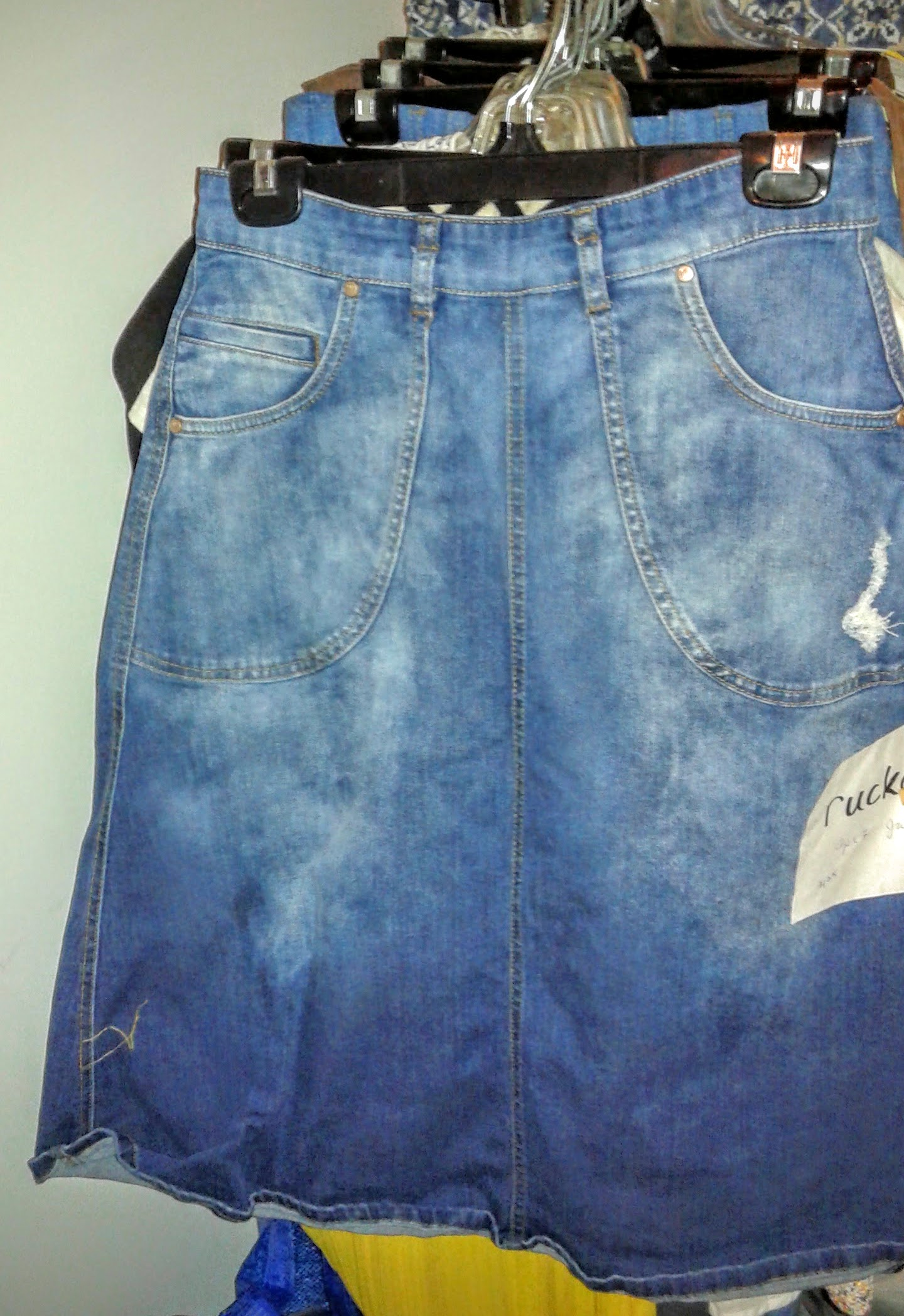 A-line denim skirt with great pockets