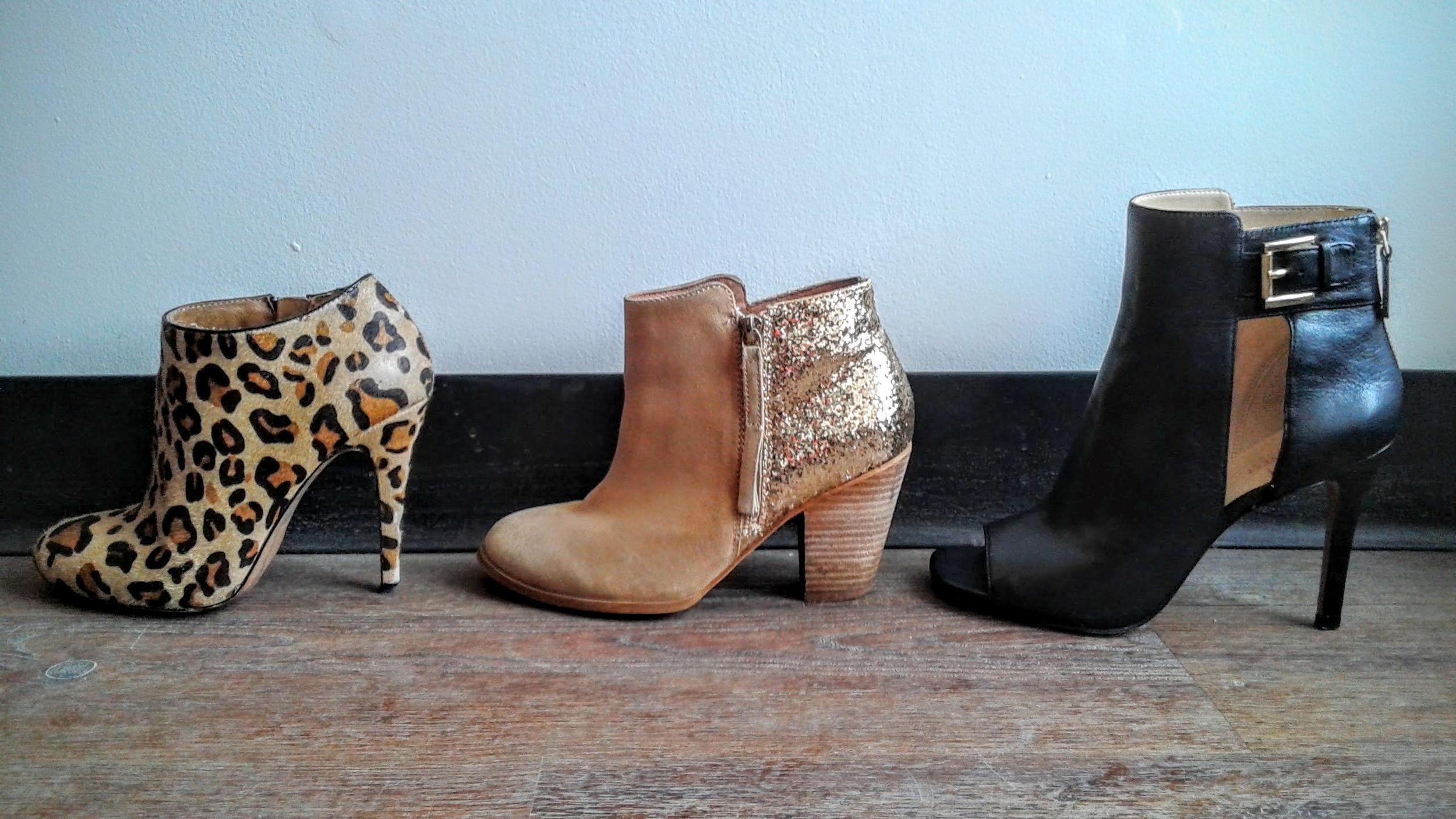 Leopard print booties, Aldo, S7.5, $42; Gold/tan booties, Aldo, S7.5, $42; Nine-West cut-out booties, S7.5, $46