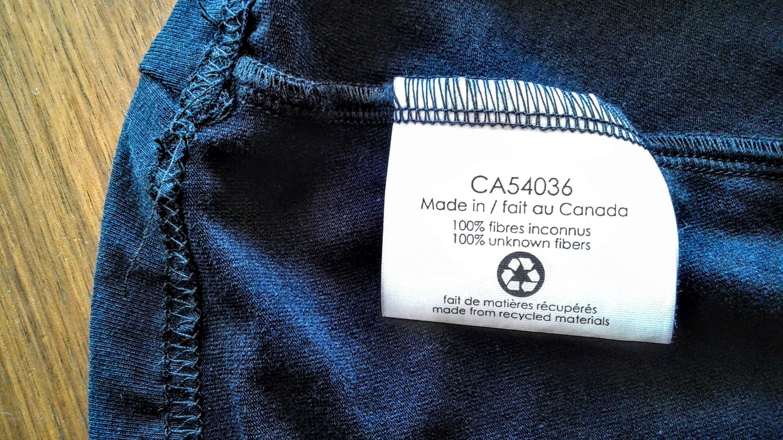 Just some unknown recycled fibres, made in Canada, as one does.